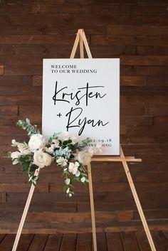Elegant Wedding Welcome Signs You Will Like; Wedding Welcome Sign; Welcome Sign; Cocktails Vin, Wedding Ceremony Flowers, Wedding Bouquet, Wedding Rings, Welcome To Our Wedding, Wedding Signage, Etsy Wedding Signs, Simple Weddings, Elegant Wedding
