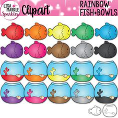 Fish and Fishbowl Clipart Rainbow Colors by Lisa Markle Sparkles Clipart and Preschool Fun Preschool Learning, Toddler Activities, Preschool Activities, Counting Activities, Preschool Teachers, Fish Clipart, Rainbow Clipart, Rainbow Fish Activities, Color Activities