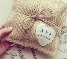 Gorgeously simple burlap ring pillow - with personalised heart