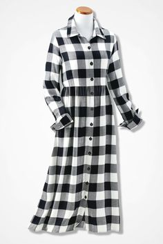 Buffalo Check Empire Dress - Coldwater Creek
