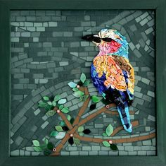 """(Lilac Breasted Roller) """"Chirp"""", 12"""" x 12"""" mosaic, materials: unglazed ceramic, stained glass, smalti.  All rights owned by Patty Franklin mosaics"""