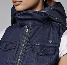 G-Star RAW Arc Regent Hooded Vest Jean Jacket - 2013-2014 Fall Autumn Winter Womens Collection - Made In Denim Finds Raw Rigid Selvedge