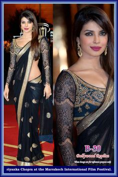 Priyanka chopra in glamorous Black net saree, with lace sleeves, and embroidered blouse! A must have in your wardrobe. It's absolutely a dream saree. Bollywood saree.