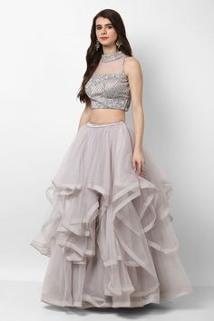 India's largest fashion rental service Wedding Dress Lehenga, Rent NIYOOSH Grey Embroidered Lehenga Choli With Dupatta at Flyrobe Choli Designs, Lehenga Designs, Blouse Designs, Party Wear Lehenga, Bridal Lehenga Choli, Floral Lehenga, Lehenga Wedding, Indian Dresses, Indian Outfits