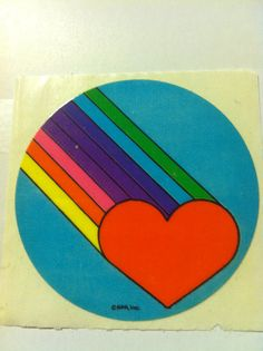 Heart and rainbow sticker vintage 1980's by aBetterTomorrowSales