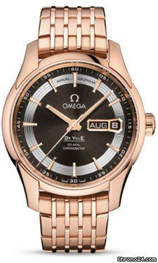 Omega De Ville Hour Vision Annual Calendar $29,570 #Omega #watch #watches #chronograph 41 mm 18K red gold case, transparent back, domed scratch-resistant sapphire crystal, brown dial.