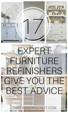 Furniture Refinishing Advice From 17 of the Best Furniture Artists! Are you interested in learning how to refinish or paint furniture? Get some advice from some of the best furniture refinishers in the business! Painting furniture. Refinishing Furniture.