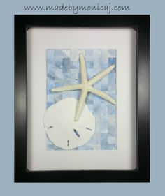 8x10 Beach Wall Décor, Shadow Box Frames Art.  Woven Hand Painted Paper in blue and grey.  One of a kind.