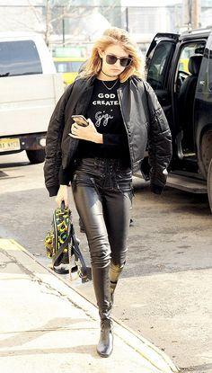 Gigi Hadid owning the bomber jacket game.