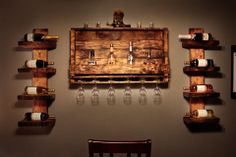 very nice set by Crocker Twin Creations, Lewisville, TX Rustic Wine Racks, Home Bar Designs, Bar Set, Pallet Furniture, Wood Wall, Rustic Decor, Liquor Cabinet, Diy Ideas, Decor Ideas