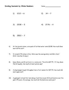 Dividing Various Decimal Places by a Whole Number (A) Math ...