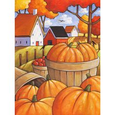 PAINTING Original 12x16 Fall Pumpkin Folk Art by por SoloWorkStudio