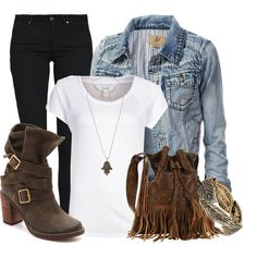 """""""Fall Warrior"""" by felicia-alexandra on Polyvore. Blue, brown, denim, leather, jeans, love the straps and buckles on the boots, and the fringe on the bag"""