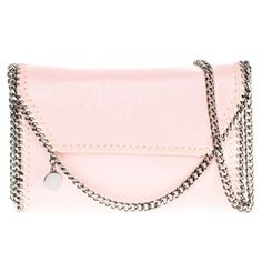 Stella McCartney Falabella Pearlescent Faux Leather Fold-over Clutch found on Polyvore featuring bags, handbags, clutches, bolsas, purses, fold over handbag, chain handbags, vegan leather handbags, vegan leather purse and pink handbags