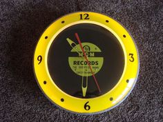 Old Vintage 1940s 50s MGM RECORDS MUSIC ADVERTISING CLOCK Electric Lights Up