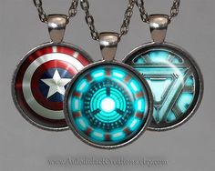 The Avengers Jewelry, Set of The Avengers Necklaces, Iron Man Arc Reactor Necklace, Captain America Shield Necklace, Iron Man Jewelry, Thor.. www.autodidactcreations.etsy.com