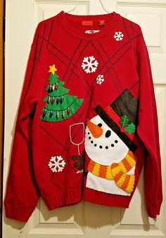d4a54db2 Men's Ugly Christmas Sweater Izod Size L Red Long Sleeve Frosty Getting  Toasty #IZOD #