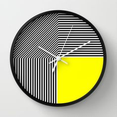 Geometric abstraction: black and white stripes, yellow square Wall Clock by aapshop - $30.00