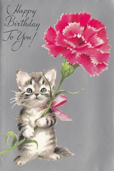 vintage Rust Craft birthday card kitten with pink carnation