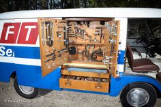Learn more about Tools Included: Period Mobile Workshop 1964 Fiat 1100 on Bring a Trailer, the home of the best vintage and classic cars online. Mini Trucks, Old Trucks, Roll Out Awning, Mobile Workshop, Cool Vans, Camper Interior, Steel Wheels, Vw T1, Custom Vans