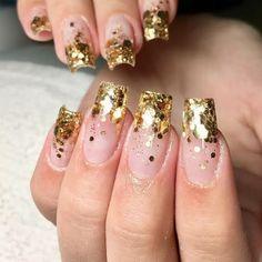 Glitter Tip Nails, Polygel Nails, Diva Nails, Chic Nails, Glam Nails, Cute Acrylic Nails, Gorgeous Nails, Pretty Nails, Long Square Nails