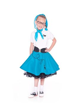 Girls 50s Poodle Skirt TEAL Small Child 456 By Hiphop50sshop 1799