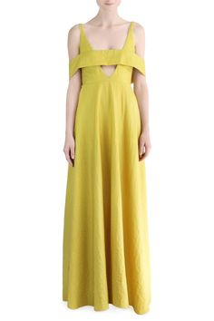 Chartreuse yellow Georgette, sleeveless gown with plunging neckline and off the shoulder straps.