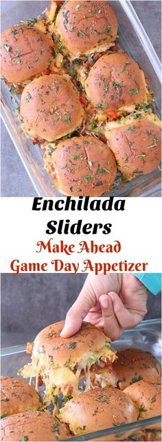 If you're looking for a one-pan way to please the crowd at your game day party, this simple yet crowd pleasure Enchilada Sliders recipe is a total win! These are a great alternative to traditional Enchilada! They are simple to make and loaded with fla Appetizers For A Crowd, Food For A Crowd, Appetizer Recipes, Party Appetizers, Appetizer Ideas, Recipes Dinner, Party Snacks, Drink Recipes, Yummy Recipes