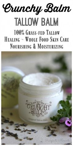 Crunchy Balm Tallow Balm is THE best addition to your skincare routine. This healing, whole food balm is better than any store-bought lotion or cream. | Recipes to Nourish #NaturalFaceCream Homemade Moisturizer, Face Scrub Homemade, Homemade Skin Care, Homemade Products, Homemade Beauty, Homemade Gifts, Perfectly Posh, Organic Skin Care, Natural Skin Care