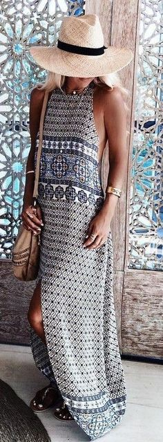 **** STITCH FIX May 2017 styles! Loving this gorgeous navy and white medallion printed maxi and large brimmed straw hat. Get styles just like these from Stitch Fix today. Just click the picture to get started!! Stitch Fix Spring Summer 2017. #Affiliate #StitchFix Look Boho, Bohemian Style, Boho Chic, Hippie Style, Ethnic Style, Bohemian Fashion, Boho Gypsy, Casual Summer Outfits, Cute Outfits