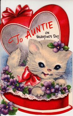 Vintage 1955 To Auntie On Valentines Day by poshtottydesignz