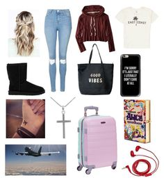 """""""Untitled #173"""" by veggieranch on Polyvore featuring American Eagle Outfitters, Topshop, UGG Australia, Billabong, Venus, Casetify, Jewel Exclusive, Rockland Luggage, Olympia Le-Tan and FOSSIL"""