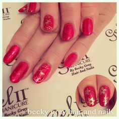 Becky gray hair and nails gel II Christmas manicure