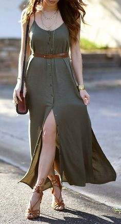 Modelos de vestido verde - En Tutorial and Ideas Basic Fashion, Boho Fashion, Fashion Dresses, Womens Fashion, Feminine Fashion, Ladies Fashion, Fashion Photo, Summer Outfits, Casual Outfits