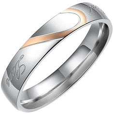 Flongo Real Love Coeur Acier Inoxydable Bague Anneaux Argent Rose Or Valentin Amour Couple Mariage Engagement Promesse Femme Taille 54.5