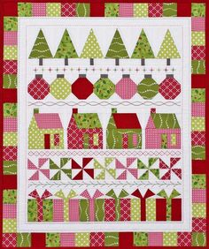 Quilting Ideas Merry and Bright Quilt Pattern PDF by Jen Daly Quilts House Quilt Patterns, Christmas Quilt Patterns, Christmas Sewing, Noel Christmas, Quilt Patterns Free, Christmas Quilting, Christmas Tree Quilt Block, Christmas Present Quilt, Christmas Topper
