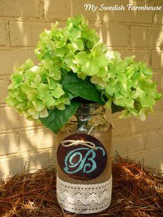 LARGE MASON JAR Flower Vase Burlap Lace 2 Quart Jar with Personalized Wood Heart Rustic Wedding Decor Table Centerpiece. $24.00, via Etsy.