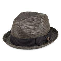 Brixton Hats Castor Straw Trilby Hat - Washed Black
