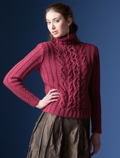Nashua Handknits--Kathy Zimmerman--Cabled Pullover. My sister Chris recently gave me some beautiful worsted wool, and my fingers have been itching ever since. This might be the sweater that I decide to make.