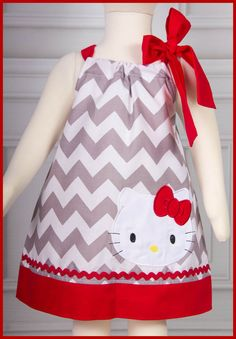 This listing is for the super cute Hello Kitty pillowcase style dress with side bow. The dress was made with a gray chevron and paired with