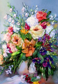 Ricamo Vaso con i fiori Silk ribbon di SilkRibbonembroidery
