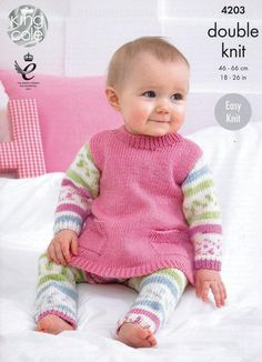 A cute set of Tunic, Cardigan and Leggings which are easy to knit and easy to wear. Any little girl would feel extra special when dressed up in this pretty little outfit. Created using the solid shades of King Cole Cherished Baby DK and the beautiful self-patterning King Cole Cherish, two soft and cosy acrylic yarns which have anti-pilling technology to stop those annoying little bobbles from forming. The Tunic, Cardigan and Leggings are all simple shapes knitted in stocking stitch w...