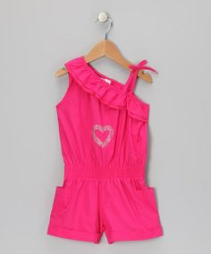 Take a look at this Pink Heart Asymmetrical Romper - Toddler by Longstreet on #zulily today!