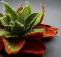 Copper Green Felt Flower Brooch by Brigita Re on Etsy