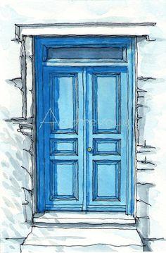 Paros Door Greece art print from an original watercolor painting