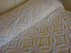 Vintage Chenille Yellow Full Double Bedspread