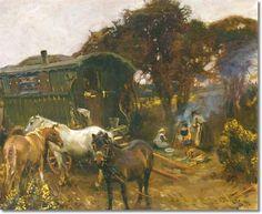 Gypsy Caravan Wagon Painting | AJM - Gypsy Caravan at Ringland Hills by Alfred J Munnings | Archival ...