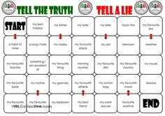 "A board game where students must draw a card ""Tell the truth"" or ""Tell a Lie"" and then roll the die. The move their counter to the space according to the numbers on the die. Now they start talking about the topic according to the card. The other players listen and decide what they believe: Is it a lie ot is it true? Se further instructions on the second page of the upload. Have fun.PS: My students liked the twist of the cards. - ESL worksheets"