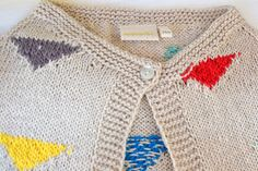 Knit cardigan | Colour patches | Geometric | Wool off-white | Brights | Maravilla