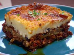 Bobby Flay's Moussaka. Would love to create a veggie version of this....